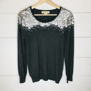 MICHAEL KORS Angora Bld Gray Sequin Sweater PM EUC